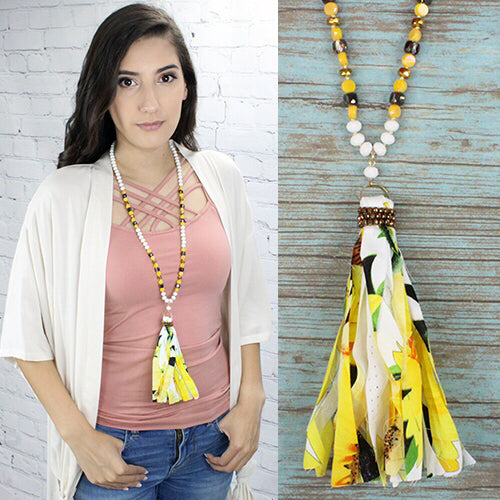 New Mustard White Necklace/Earring Set