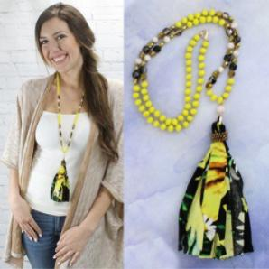 New YF Black Yellow Floral Necklace - Shar's Consignment