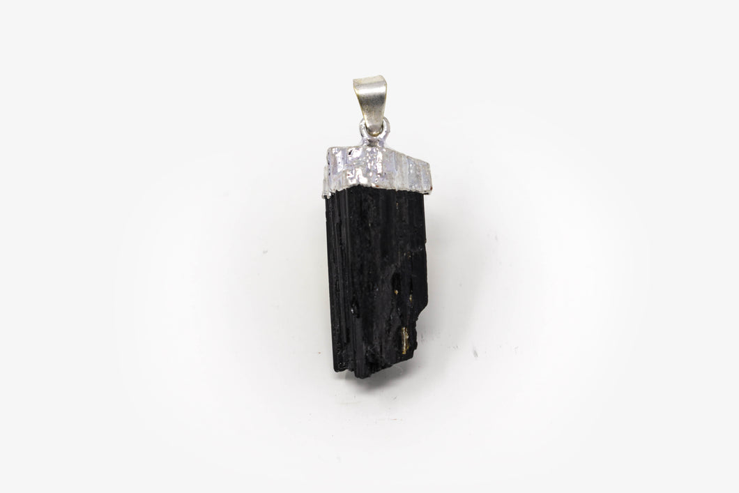 Silver Plated Black Tourmaline Pendant