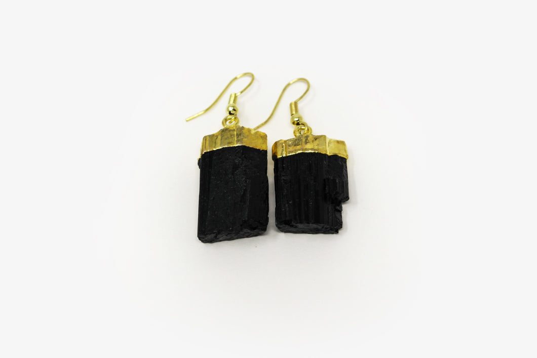 Black Tourmaline Gold Plated Earrings