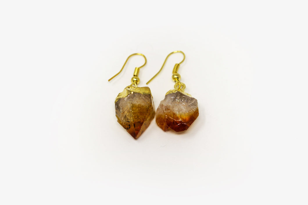 Citrine Point Gold Plated Earrings