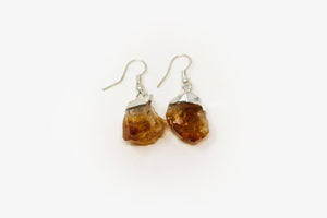 Citrine Point Silver Plated Earrings