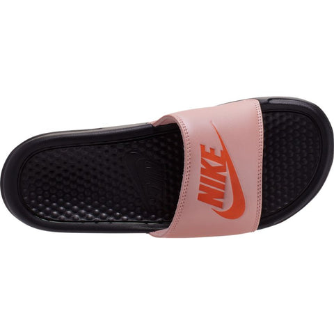 "Nike Womens Benassi ""Just Do It"" Sandal- Black/Coral"