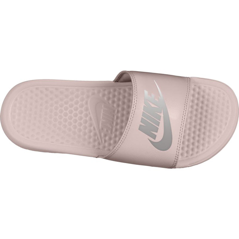 "Women's Nike Benassi ""Just Do It."" Sandal - Rose/Silver"