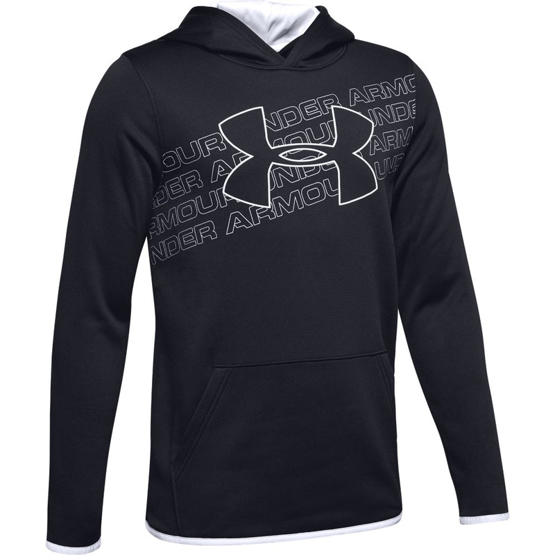 Under Armour Boys Armour Fleece Logo Hoody- Black