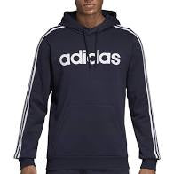 Adidas Mens Essential 3 Stripe Fleece Hoody- Ink