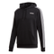 Adidas Mens Essentials 3 Stripe P/O Hoody- Black