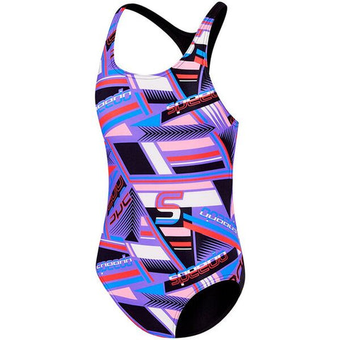 Speedo Girls Chroma Zag  T Back One Piece