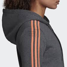 Adidas Womens 3 Stripe Fleece Hoody - Dark Grey