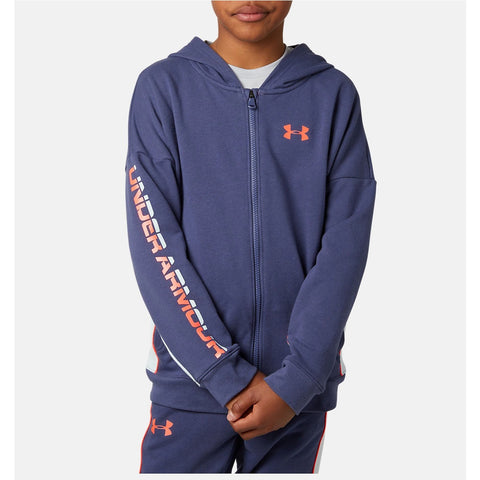 Under Armour Kids Rival Terry Fleece Hoody- Blue Ink