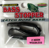 Bass Stopper 2 Hk Weedless Rigged Worms - 6 Pack