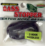 Bass Stopper 3 Hk Weedless Rigged Worms - 6 Pack