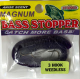 Bass Stopper - Magnum 3 Hk Weedless Rigged Worms - 6 Pack