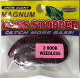 Bass Stopper - Magnum 2 Hk Weedless Rigged Worms - 6 Pack