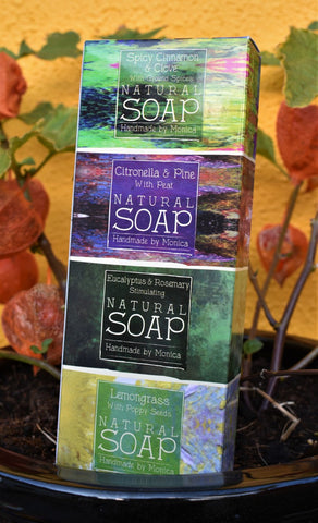 gift box of 4 natural mini soaps