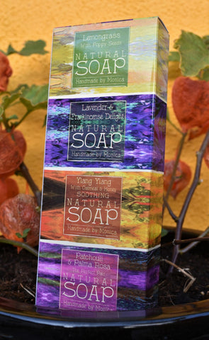 gift set of 4 natural mini soaps