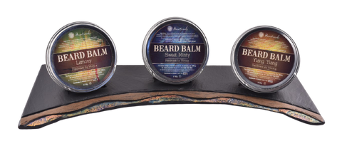 beard balm on slate display unit