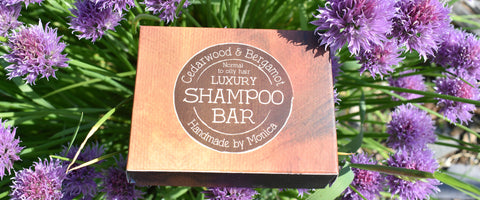 shampoo bar with chive flowers
