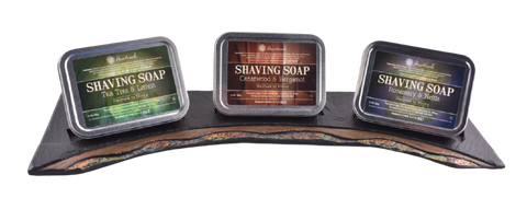 shaving soap on slate display unit