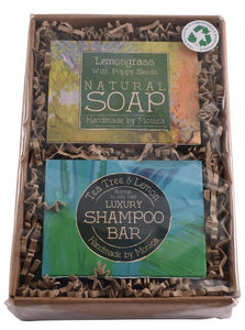 natural soap and shampoo in a box