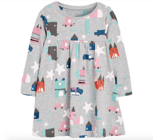 Forest Friends Cotton Dress