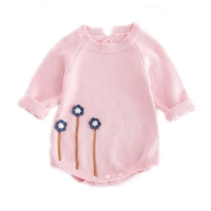 Knit Floral Sweater Onesie (2 Color Options)