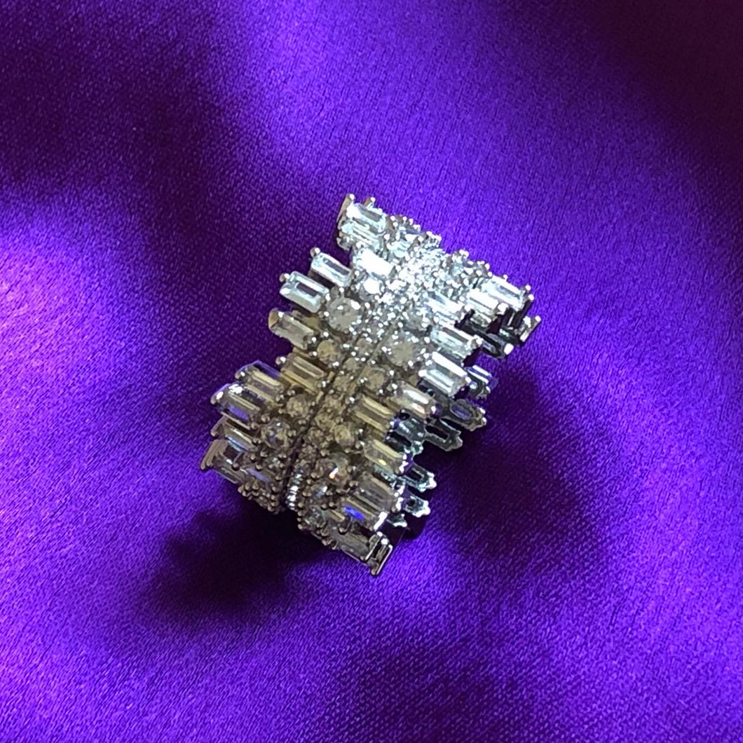 Icicle Ring - Cubic Zirconia (with clear crystal band)