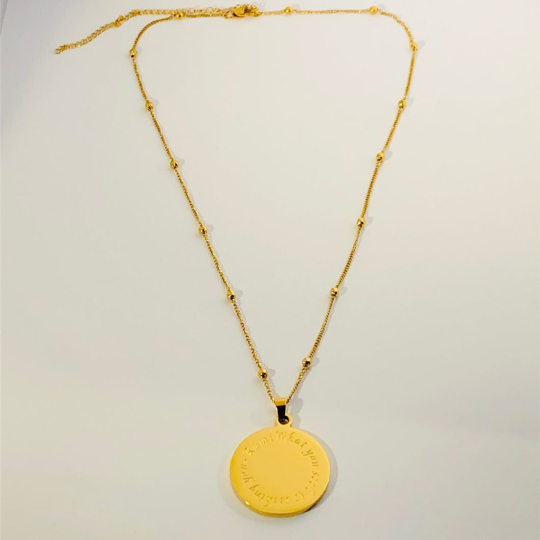 NEW! RUMInate Collection - Rumi quote Yellow Gold Necklace