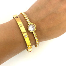 "Load image into Gallery viewer, NEW! ""Sabr - this too shall pass"" Yellow Gold Bangle"