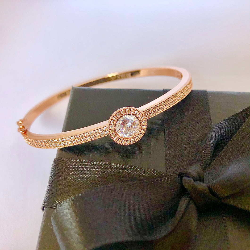 NEW! Du'a Solitaire Bangle - 18K Rose Gold