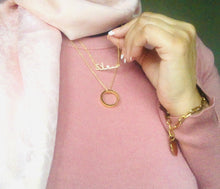 "Load image into Gallery viewer, ""Happiness"" Arabic crystal necklace - 18K Gold plated"