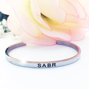 Patience Silver Cuff Bangle (black engraving)