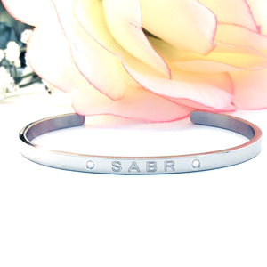 Patience Silver Tone Cuff Bangle (Premium Stainless Steel)