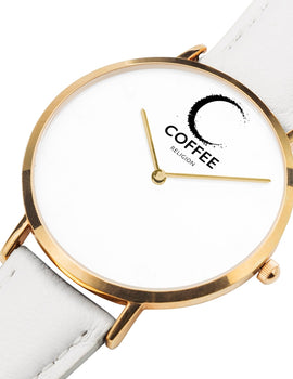 COFFEE RELIGION Hamptons Coffee Time Watch - White Leather Strap gold dial