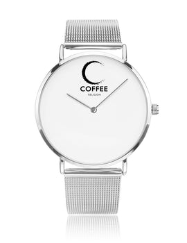 COFFEE RELIGION COFFEE TIME New York Silver Steel Minimalist Watch