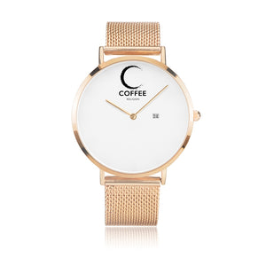 Open image in slideshow, COFFEE RELIGION COFFEE TIME Rose Gold Steel Minimalist Watch with date