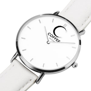 COFFEE RELIGION Naples Mark Coffee Time Watch - White Leather Strap silver dial