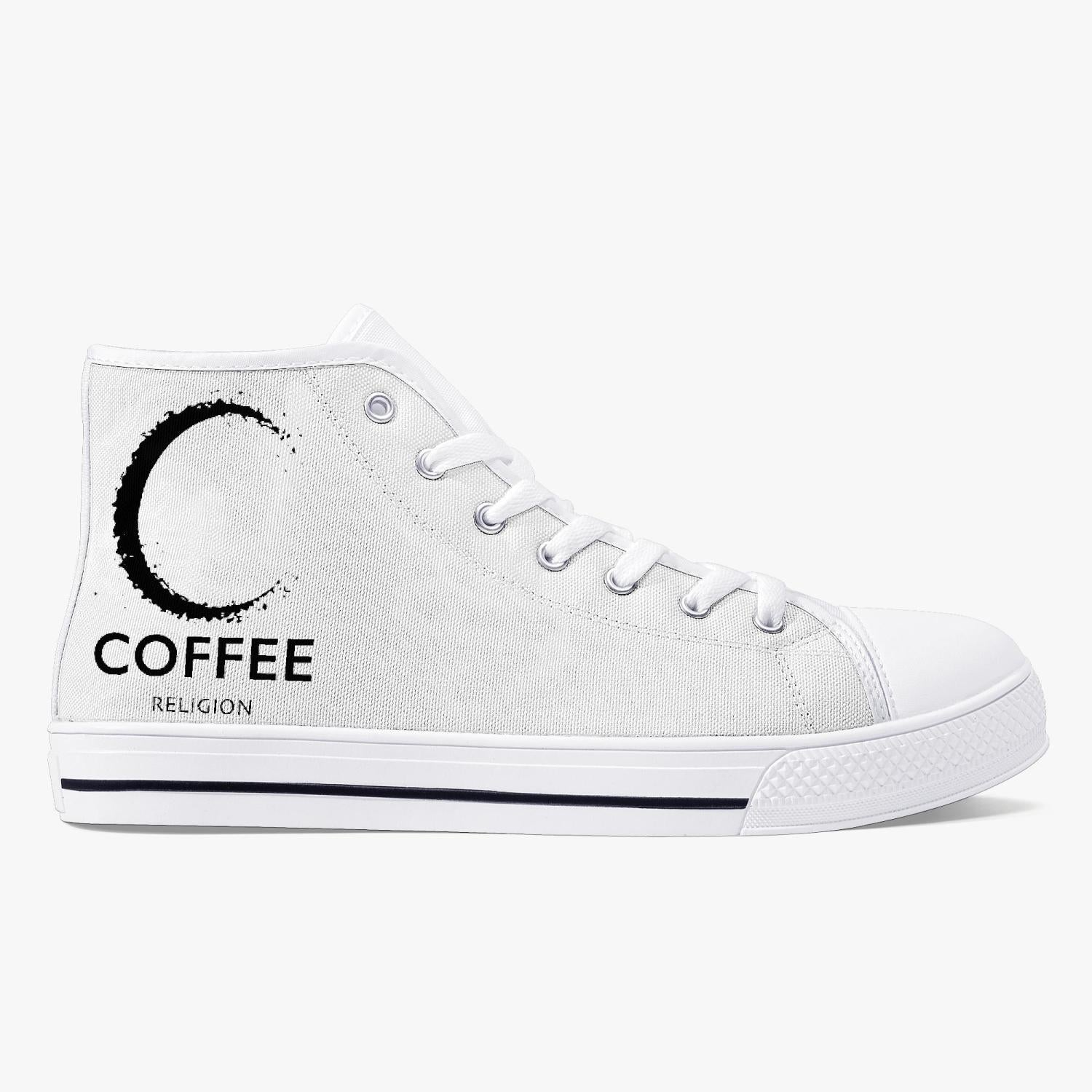 Coffee Religion Moon Walk Classic High-Top Sneakers Canvas Shoes - White/Black