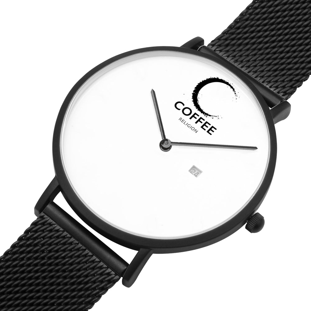 COFFEE RELIGION COFFEE TIME Black Steel Minimalist Watch with date