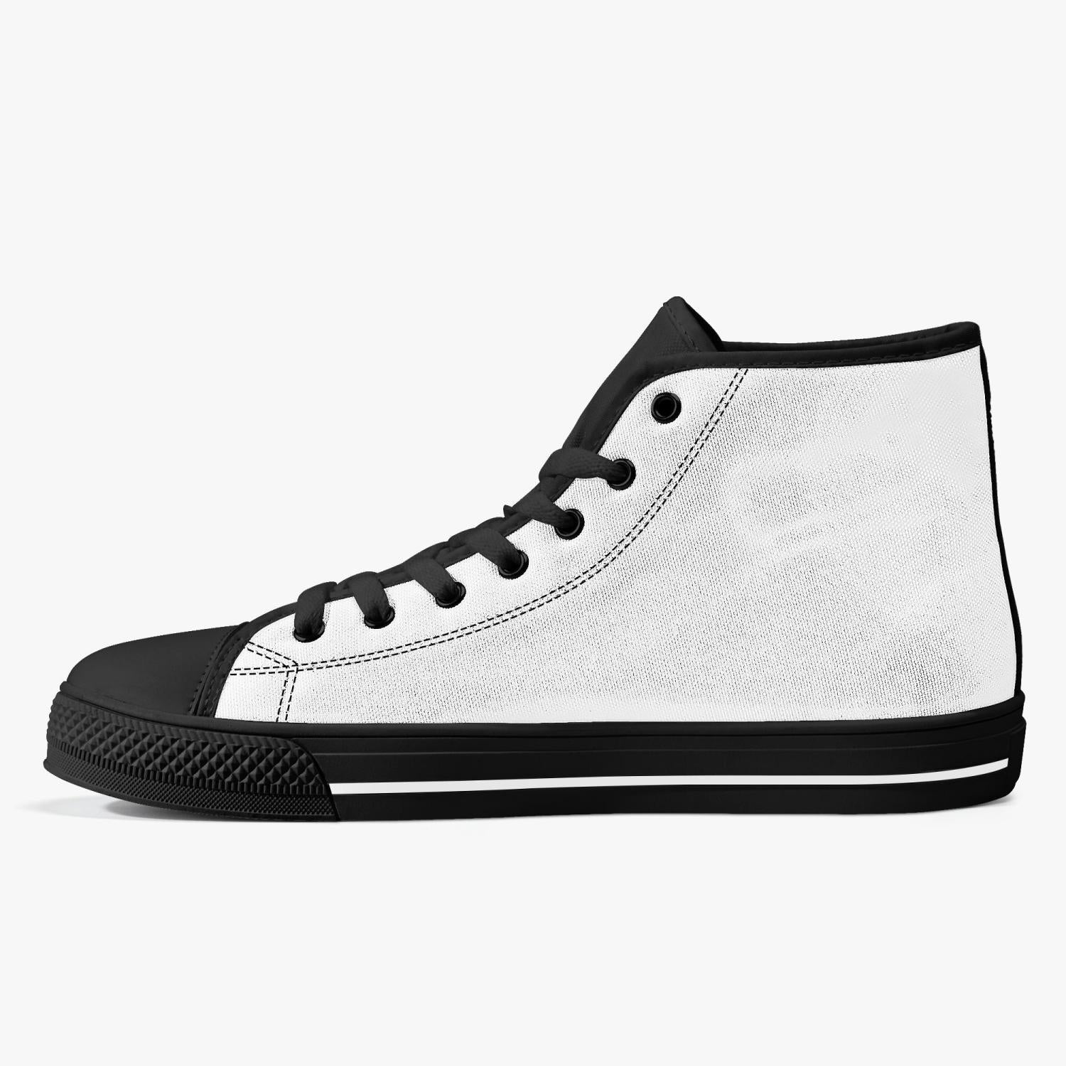 Kick COFFEE RELIGION Classic High-Top Sneakers Canvas Shoes - White/Black