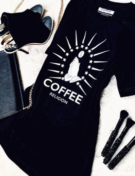 Iconic COFFEE RELIGION Logo T-Shirt Long Unisex Coffee Shirt