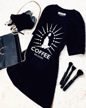 COFFEE RELIGION Logo Tee Long Unisex T-Shirt - COFFEE RELIGION