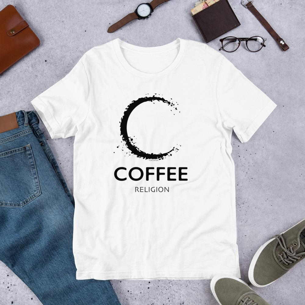 COFFEE RELIGION T-Shirt Long Unisex Tee - COFFEE RELIGION
