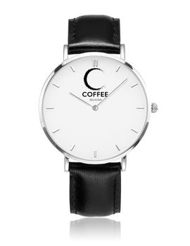 COFFEE RELIGION Naples Mark Coffee Time Watch - Black Leather Strap silver dial
