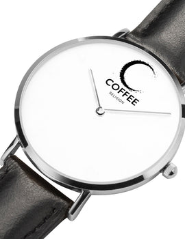 COFFEE RELIGION COFFEE TIME Naples Black Leather Silver Steel Minimalist Watch