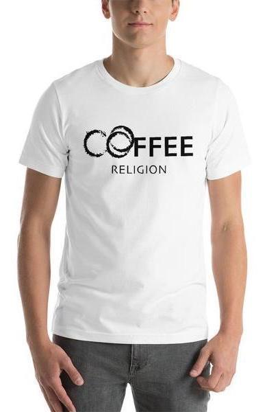 COFFEE RELIGION Coffee Stains Short-Sleeve Unisex T-Shirt - COFFEE RELIGION