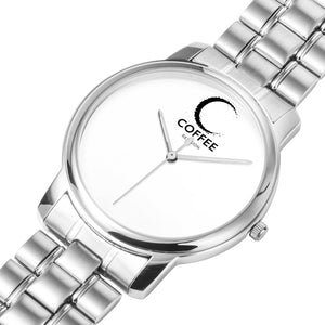COFFEE RELIGION MIAMI COFFEE TIME Minimalist Watch in Silver