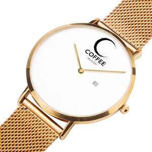 COFFEE RELIGION COFFEE TIME Rose Gold Steel Minimalist Watch with date
