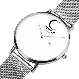 COFFEE RELIGION COFFEE TIME Silver Steel Minimalist Watch with date