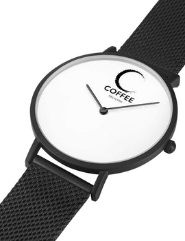 COFFEE RELIGION COFFEE TIME New York Black Steel Minimalist Watch